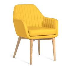 Yoko Upholstered Armchair With Ash Legs, Yellow