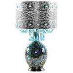 River of Goods - Poetic Wanderlust Mattei Jeweled Metal Shade, Mosaic Base Table Lamp - Exotically entrancing, this metal and glass table lamp is a show stopper.  The filigree silver metal shade is accented with sky blue glass crystals, and the mosaic glass base shimmers in ombre from bright turquoise to silver.  Inspired by the California sky at night, this is a the kind of lamp that can change an entire room!