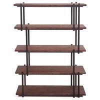 "58""T Aurora Bookshelf Solid Acacia Wood Shelves Asymmetric Iron Frame"