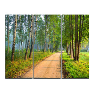 """""""Road in Green Morning Forest"""" Photo Wall Art, 3 Panels, 36""""x28"""""""