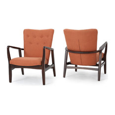 gdfstudio suffolk french style fabric arm chairs set of 2 orange armchairs