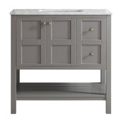 Florence Single Vanity, Gray, Without Mirror, 36""