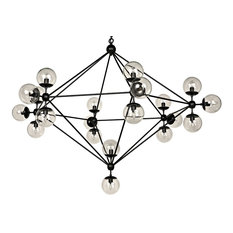 "63""L Alita Chandelier Black Metal Framing Glass Orb Shades"