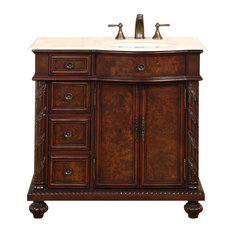 """36"""" Traditional Single Sink Bathroom Vanity, (Right Sink) Distressed Finish"""