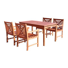 Malibu Natural Wood 5-Piece Outdoor Dining Set