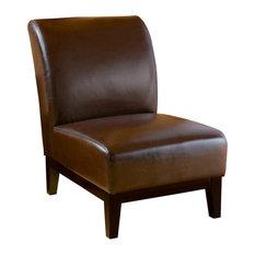 GDF Studio Brakar Brown Leather Armless Chair
