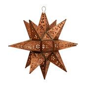 "Tin Moravian Star Pendant Light, Copper, 14"", Mount"