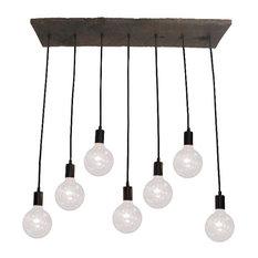 7 Pendant Reclaimed Wood Chandelier, Black, Clear Globe Bulbs