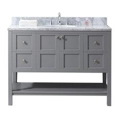 """Virtu Winterfell 48"""" Single Bathroom Vanity, Gray With Marble Top"""
