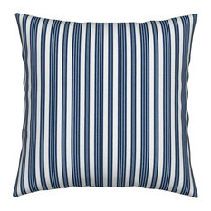 French Ticking Woven Blue Stripes Throw Pillow, Organic Sateen Fabric, Cover + I
