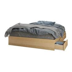Nexera - Alegria 3 Drawer Storage Bed, Natural Maple - Platform Beds