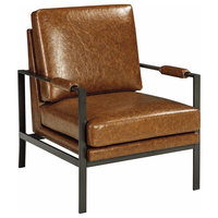 Modern Accent Chair, Steel Frame With Faux Leather Seat, Padded Arms for Comfort