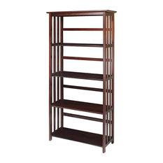 Casual Home - Mission 5 Shelf Bookcase, Walnut - Bookcases