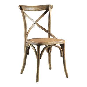 Sambuco Elm and Rattan Chair
