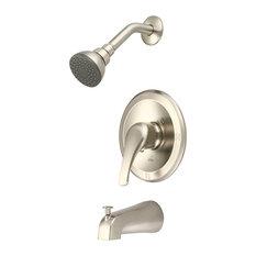 Single Handle Tub Shower Trim Set, PVD Brushed Nickel