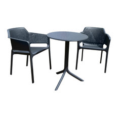 Anthracite Step Table With Net Chairs, 3-Piece Set