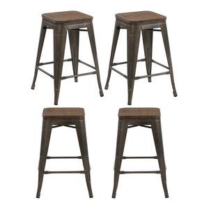 Hart Metal Counter Stools Set Of 4 Bronze 24 Quot Industrial Bar Stools And Counter