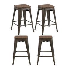 "Btexpert - 24"" Metal Vintage-Style Rustic Distressed Bar Stools Handmade Wood Top, Set of 4 - Bar Stools and Counter Stools"