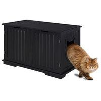 Sweet Barks Designer Cat Washroom Storage Bench Cat Litter Box Enclosure, Black