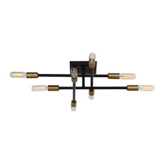 Lyrique 8 Light Semi-Flush Mount in Bronze With Brass Accents