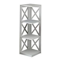 Convenience Concepts - Oxford 3-Tier Corner Bookcase, White - Bookcases