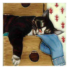 Sleeping Cat in a Drawer Tile