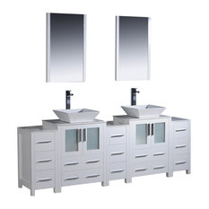 "Fresca Torino 84"" White Double Sink Vanity w/ 3 Side Cabinets & Sinks"