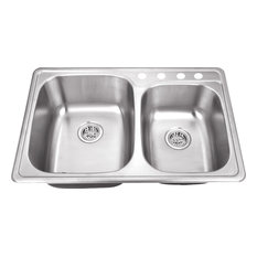 """33.125""""x22"""" Double Bowl Drop-in Kitchen Sink"""
