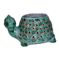 Green Peacock Turtle Talavera Ceramic Planter