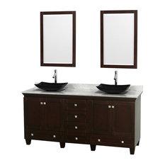 "Wyndham Collection - 72"" Double Bathroom Vanity, Carrera Marble Countertop, Sinks, 24"" Mirror - Bathroom Vanities and Sink Consoles"