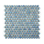"12""x12.63"" Penny Porcelain Mosaic Tiles, Set of 10, Marine"