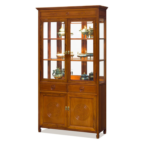 42in Rosewood Longevity Motif China Cabinet