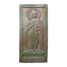 Mogul Interior - Consigned Indian Buddha Wall Panel Green Patina Door-Vitarka Mudra - Wall Decor