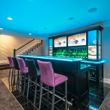 Glass Countertop Custom Home Sports Bar