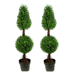 """3"""" Aritificial Double Ball-shaped Boxwood Topiary Plant Tree in Pot, Green, Set"""