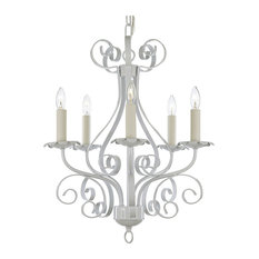 White Wrought Iron Chandelier Country French 5-Light Pendant Lamp