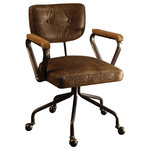 Acme Furniture - Hallie Top-Grain Leather Office Chair, Vintage Whiskey - The Hallie Office Chair brings comfort and hardworking style to any work space. Oversized button tufting and handsome, top-grain leather are complemented by a sleek metal frame. An adjustable five-star base with casters promises easy mobility and comfort as you move around your workspace.