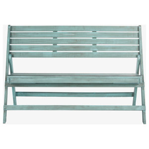Safavieh Malaga Outdoor Folding Bench, Coastal Blue