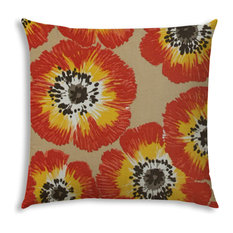 Pop of Poppies Orange Indoor/Outdoor Pillow, Sewn Closure