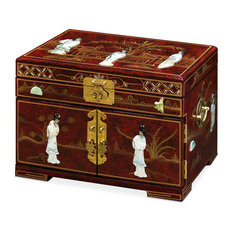Jewelry Box With Mother of Pearl Maidens on Black Lacquer, Red