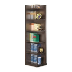Bowery Hill Corner Bookcase with Open Side in Cappuccino