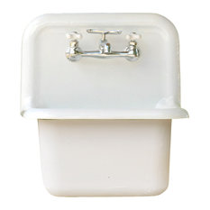 NEW Wall Mount Cast Iron Utility Sink Deep Basin High Back Porcelain, White