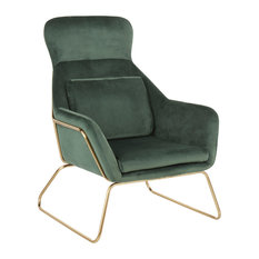 Penelope Contemporary Lounge Chair, Gold Metal, Green Velvet
