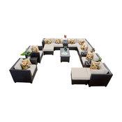 Barbados 17 Piece Outdoor Wicker Patio Furniture Set, Aruba