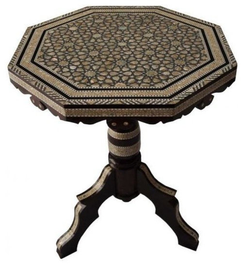 Egyptian Mother Of Pearl Mosaic Inlaid Wood Octagonal Coffee Table Coffee Tables