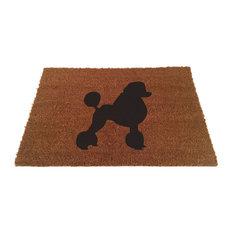 """Poodle Silhouette Doormat, Black, 24""""x35"""""""