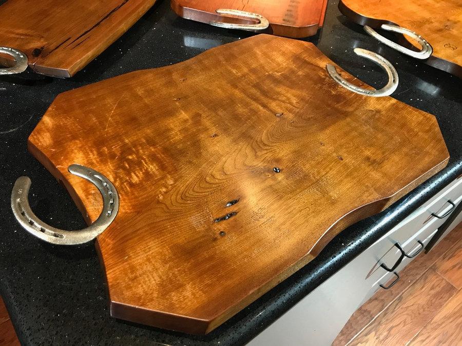 Tray # 18020 Reclaimed Walnut, Reclaimed Horse Shoes