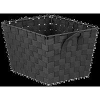 Home Basics Non-Woven Strap Bin, Black, Medium