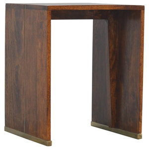 End Table With Gold Inlay, Brass and Chestnut