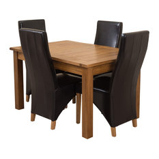 Cotswold Rustic Oak Extending Table, 4 Lola Chairs, Black Leather